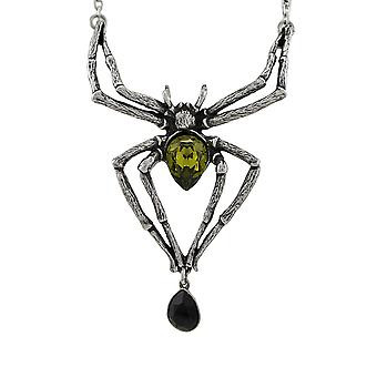 Alchemy Gothic Emerald Venom Crystal Spider Necklace