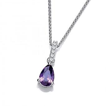 Cavendish French Delicate Amethyst CZ and Silver Teardrop Pendant