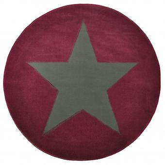Design velour carpet star round purple 140 cm | 102054
