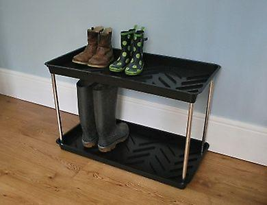 2 Tier Boot Tray Plastic Black