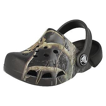 Boys Camo Print Crocs Mule Sandals Electro Kids Real Tree Apc