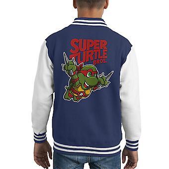 Raphael Super sköldpaddan Bros TMNT Mario Kid's Varsity jacka
