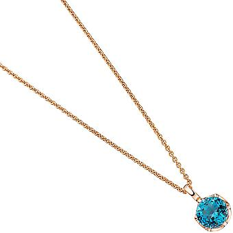 Trailer around 585 gold pink gold 1 blue Blue Blue Topaz London gold pendant