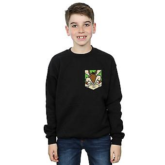 Looney Tunes Boys Wile E. Coyote Face Faux Pocket Sweatshirt