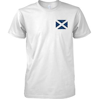 Scottish Saltire Distressed Grunge Effect Flag Design - Kids Chest Design T-Shirt
