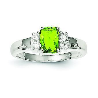 Sterlingsølv poleret åben ryg Emerald Cut Cut-out sider limegrøn og hvid Cubic Zirconia Ring - ringstørrelse: 6 til