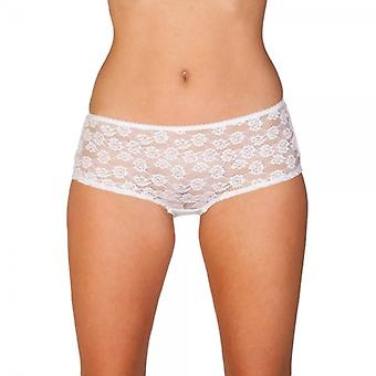 Camille Lingerie White Lace Front Boxer Shorts Knickers