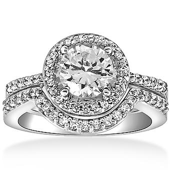 2 3 / 4ct Halo Diamond Engagement Trauring Set 14K White Gold