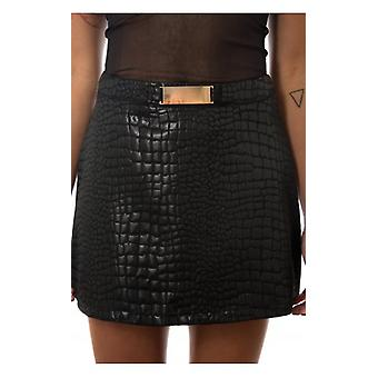 The Fashion Bible Snakeskin Mini Skirt In Black