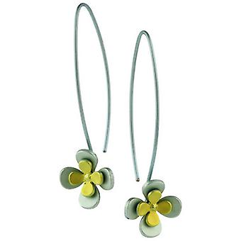 Ti2 Titanium Double Four Petal Flower Drop Earrings - Yellow
