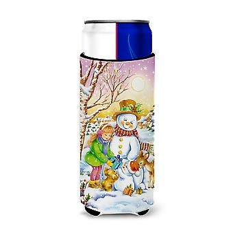 Girl and Animals with Snowman Ultra Beverage Insulators for slim cans