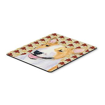 Bull Terrier Fall Leaves Portrait Mouse Pad, Hot Pad or Trivet