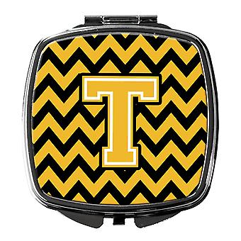 Carolines Treasures  CJ1053-TSCM Letter T Chevron Black and Gold Compact Mirror