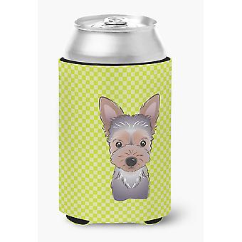 Checkerboard Lime Green Yorkie Puppy Can or Bottle Hugger