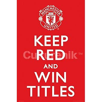 Manchester United tenere rosso Poster Poster Print