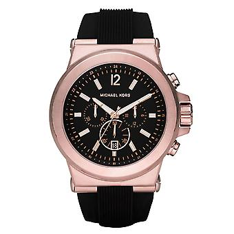Michael Kors Watches Mk8184 Dylan Rose Gold & Black Silicone Chronograph Men's Watch