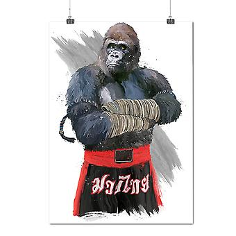 Matte or Glossy Poster with Monkey Fighter Box Animal | Wellcoda | *d2004