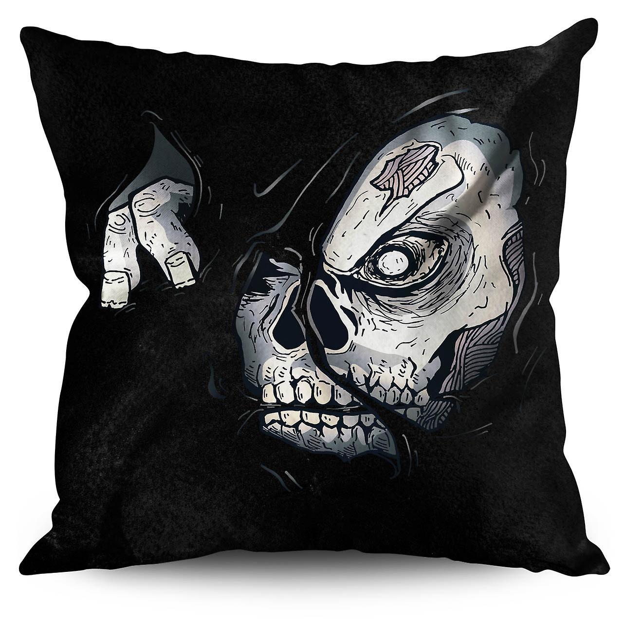 Zombie Skull Linen Cushion 30cm x 30cm | Wellcoda