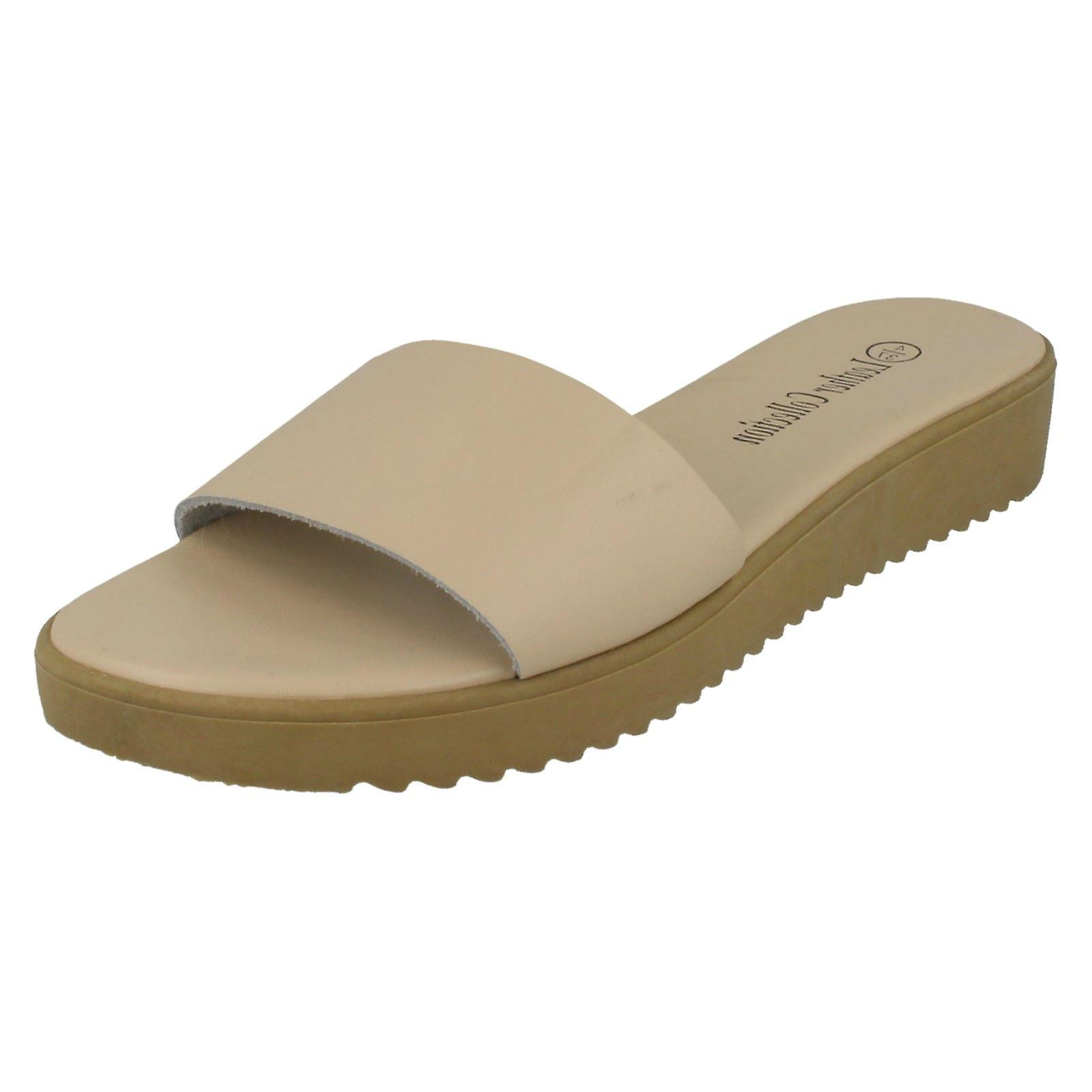 Ladies Leather Collection Casual Slip On Mules