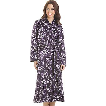 Camille Purple Floral Print Long Satin Wrap