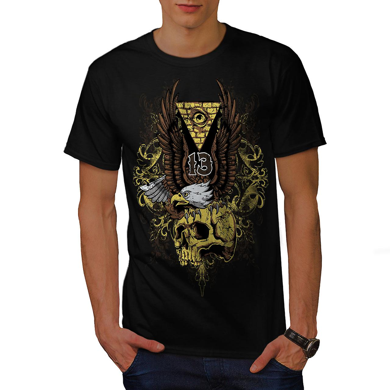 Illuminati Eagle Skull Men Black T-shirt | Wellcoda