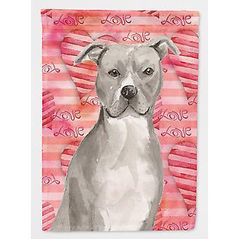 Tamanho de Staffordshire Bull Terrier amor bandeira jardim Carolines tesouros BB9465GF
