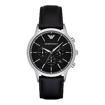 Emporio Armani Herren Herren sehen Sie schwarzes Leder Armband schwarzes Zifferblatt AR8034