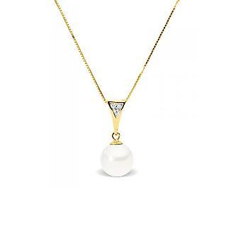 Colar pingente pérola de cultura de água soft branco, diamante e ouro amarelo de 375/1000
