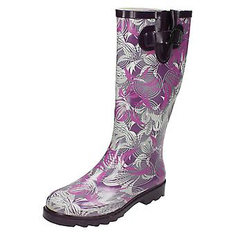 Womens Spot On Flat Leaf Pattern Wellington Boots