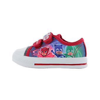 Boys P J Masks Blue & Red Low Top Canvas Trainers Sports Shoes UK Sizes 5-12
