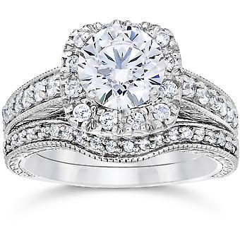 1 3 / 4ct cojín Vintage Halo anillo de compromiso conjunto 14K oro blanco