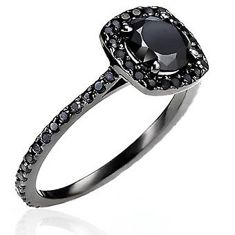 1 1/2ct Black Diamond Cushion Halo Ring 14K Black Gold