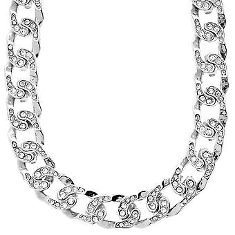 Iced out bling hiphop ketting - CUBAN CURB 15 mm zilver