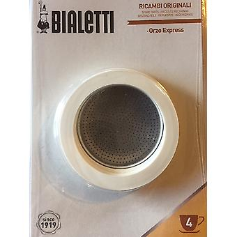 Bialetti - 3 Spare Gaskets&Filter Plate for Orzo Express - 4 Cup - Blister Pack