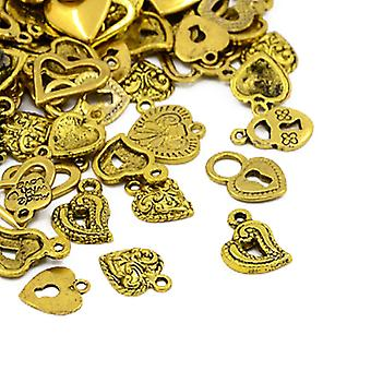 Packet 30 Grams Antique Gold Tibetan 5-40mm Heart Charm/Pendant Mix HA07490