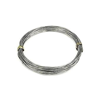 1 x Grey Plated Aluminium 0.8mm x 10m Round Craft Wire Coil HA16695