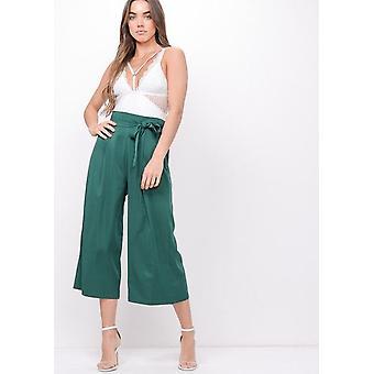 Amarrar a cintura perna larga Culotte calças verde