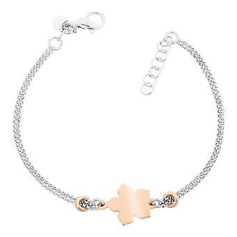 Orphelia Silver 925 Bracelet Bicolor Double Chain Leaf  ZA-7184