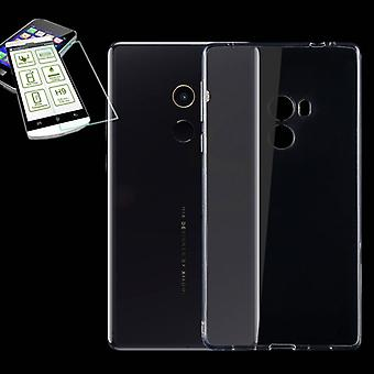 Silikoncase transparent + 0.3 H9 tempered glass for Xiaomi MI MIX 2 bag housing cover