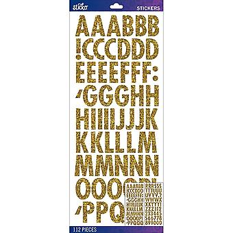 Sticko Alphabet Stickers-Gold Futura Regular Glitter