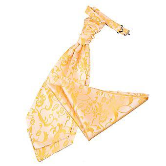 Cravate de mariage Floral or & mouchoir de poche Set