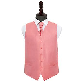 Coral Greek Key Wedding Waistcoat & Cravat Set