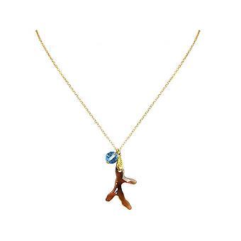 Ladies - necklace - pendants - gold plated - coral - gold Brown Orange - Blue - 45 cm