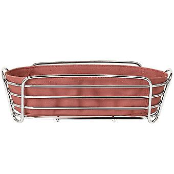Blomus bread basket DELARA chromed steel wire with cotton insert Withered Rose
