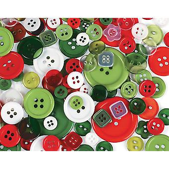 Assorted Buttons Pack for Crafts - Folk Christmas Colours