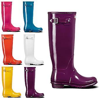Womens Hunter Original Tall Gloss vattentät regn Wellington gummistövlar