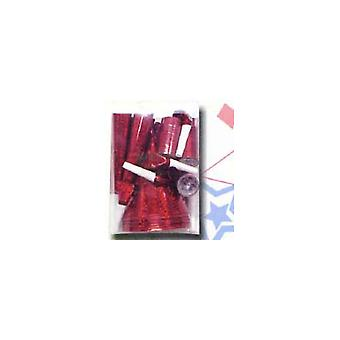 Party-Pack voor 24 mensen rood Holographic. Verpakt in een Zie via Box.