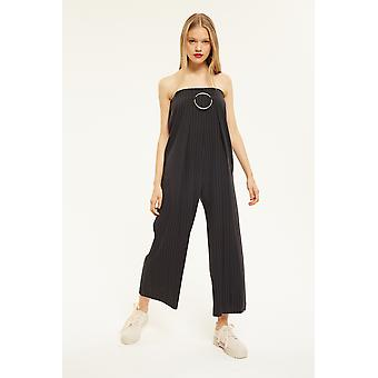 Style Mafia Strapless Pinstripe Jumpsuit With Buckle Detail