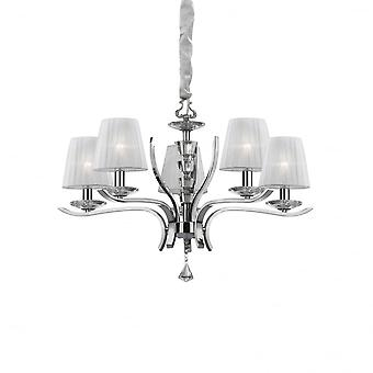 Ideal Lux Pegaso 5 Bulb Chrome Candle Shade Chandelier