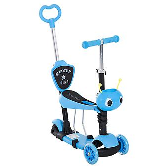 HOMCOM 5-in-1 Kids Kick Scooter 3-wheel Walker Walker w/ Removable Seat Adjustable Height Parent Handle Baby Toddler Blue